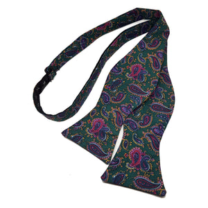 Green Paisley Bow Tie - Self Tie