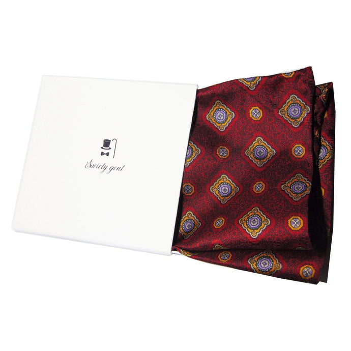Deep Red English Heritage Silk Pocket Square-pocket square-Society Gent