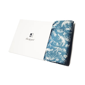 Dinosaur Skeletons Pocket Square in Light Blue-pocket square-Society Gent