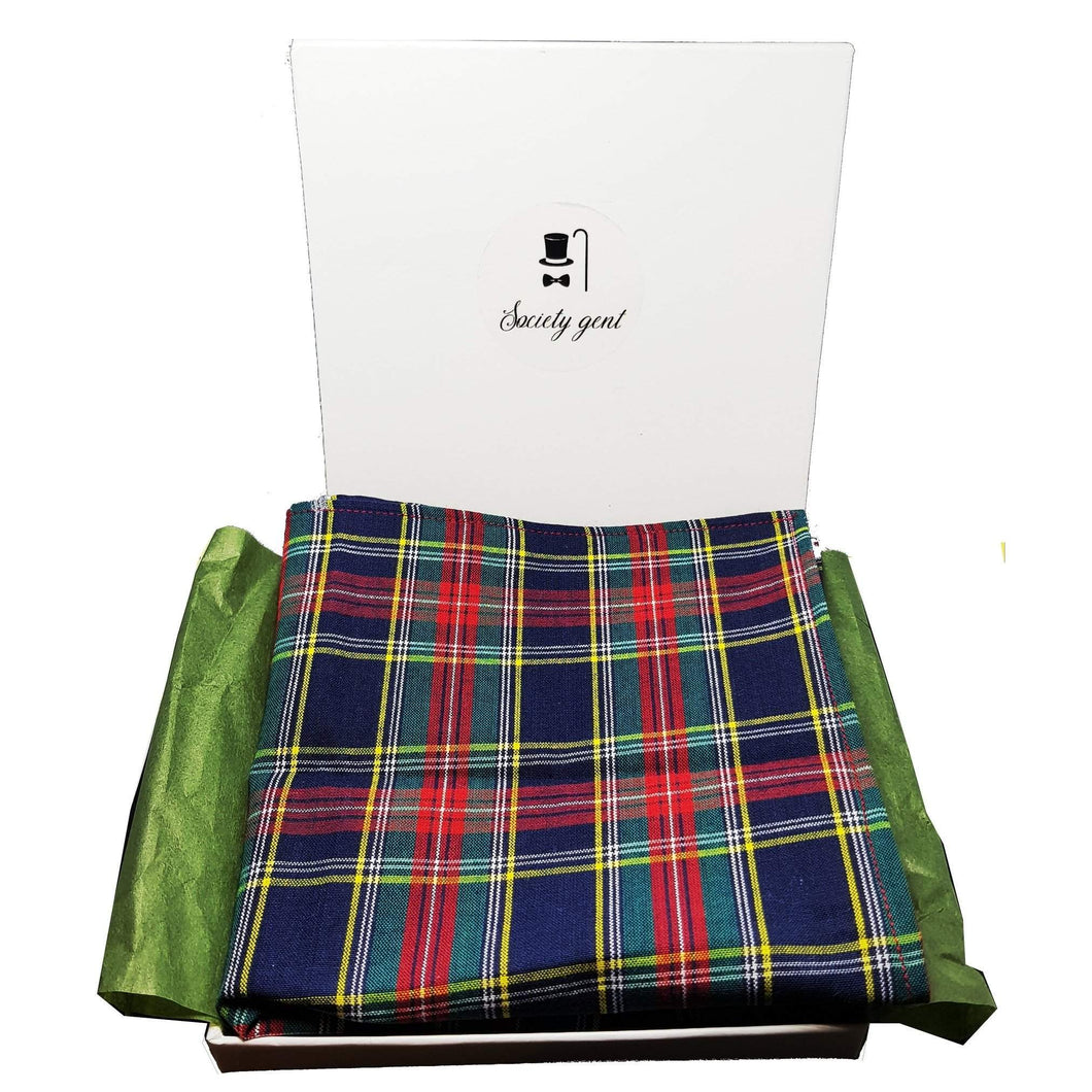 Green and Red Tartan Pocket Square-pocket square-Society Gent
