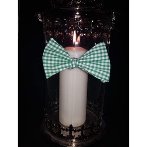 Green and White Gingham Self-Tie Bow Tie-bow ties-Society Gent