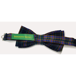 Green and Yellow Tartan Pre-Tied Bow Tie-bow ties-Society Gent