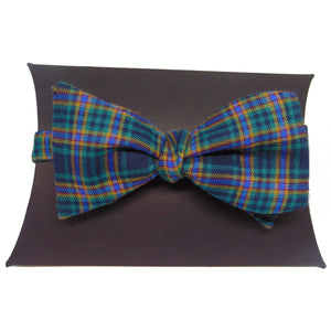 Green and Yellow Tartan Self-Tie Bow Tie and Matching Pocket Square-bow ties-Society Gent