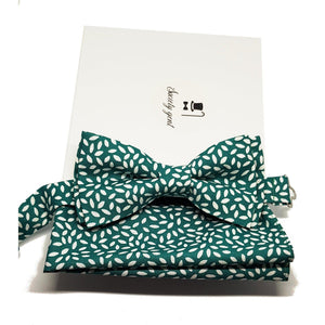 "Green with White ""Rice"" Bow Tie and Pocket Square Set-sets-Society Gent"