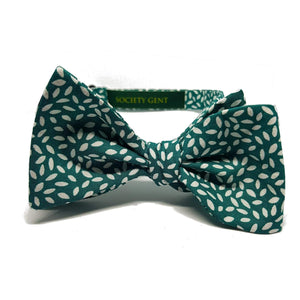 Green with White Rice Pattern Self-Tie Bow Tie-bow ties-Society Gent