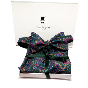The Chatsworth - Dark Green Paisley Self Tie Bow Tie and Pocket Square Set