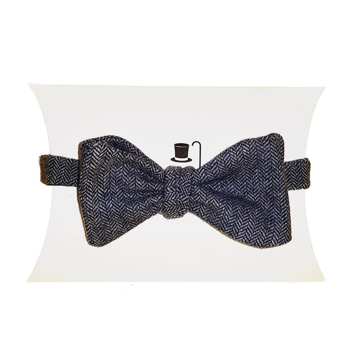 Grey Blue Heritage Tweed Self Tie Bow Tie-bow ties-Society Gent