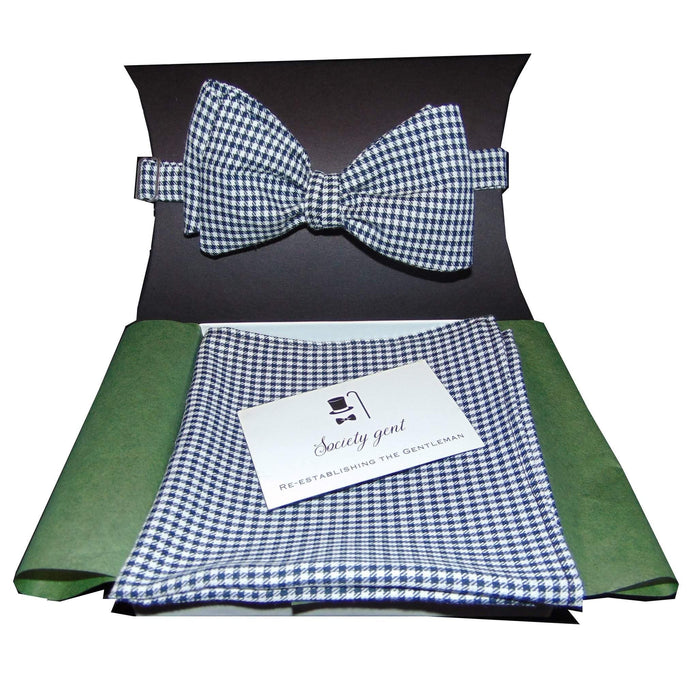 Houndstooth Self-Tie Bow Tie and Matching Pocket Square-bow ties-Society Gent