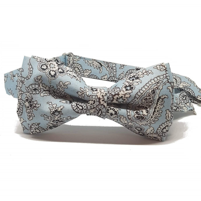 Light Blue Floral Pre-Tied Bow Tie-bow ties-Society Gent