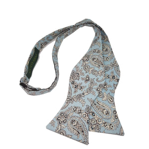 Light Blue Floral Self Tie Bow Tie-bow ties-Society Gent