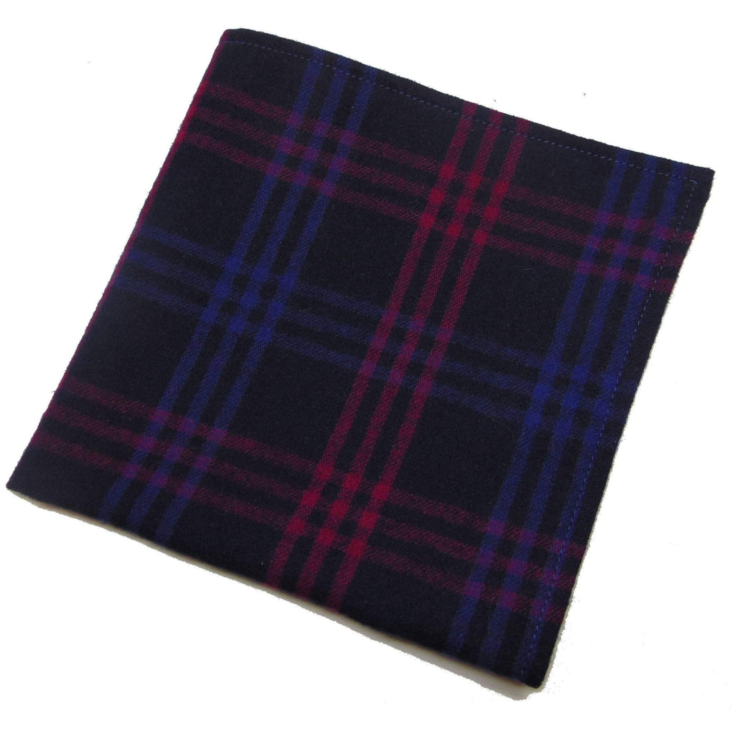 Navy Blue and Pink Gingham Pocket Square-pocket square-Society Gent