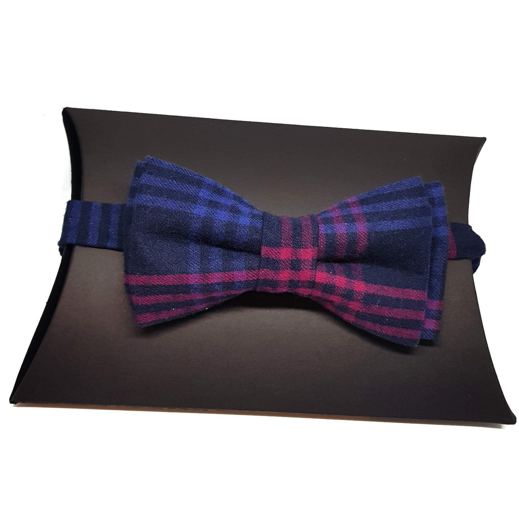 Navy Blue and Pink Tartan Pre-Tied Bow Tie-bow ties-Society Gent