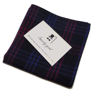 Navy Blue and Pink Tartan Self-Tie Bow Tie and Matching Pocket Square-bow ties-Society Gent
