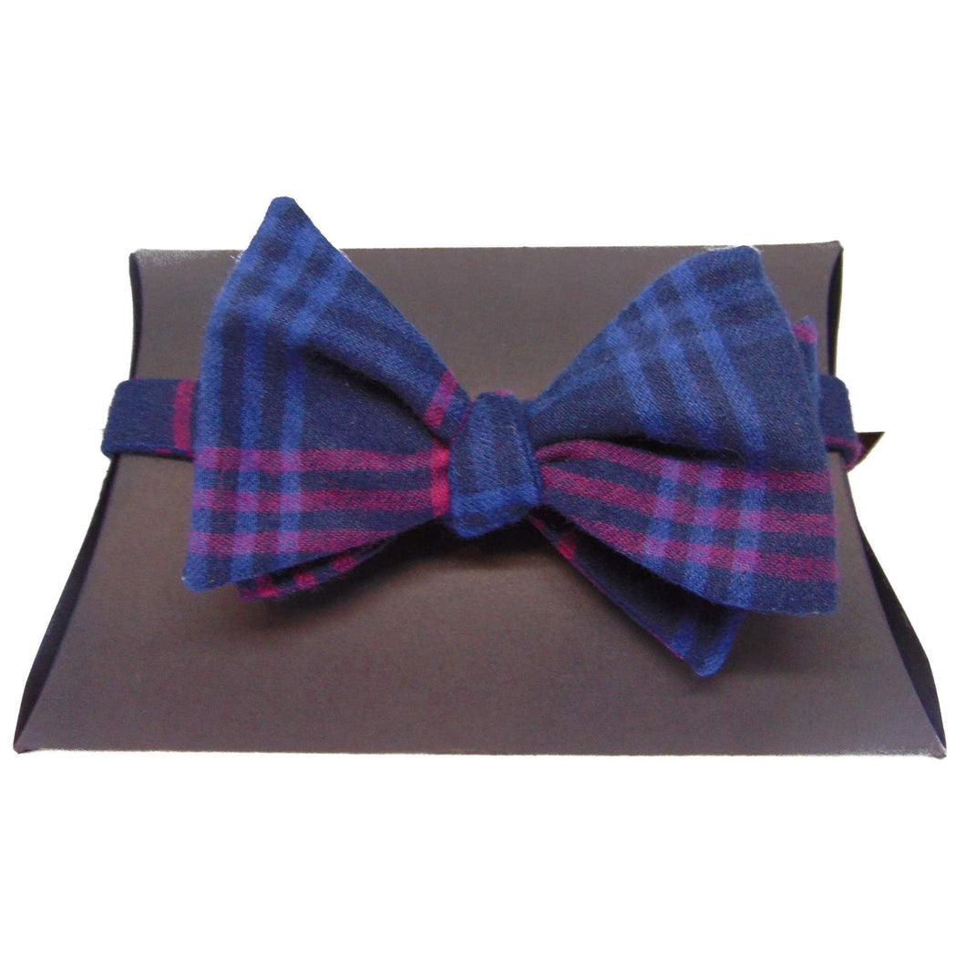 Navy Blue and Pink Tartan Self-Tie Bow Tie-bow ties-Society Gent
