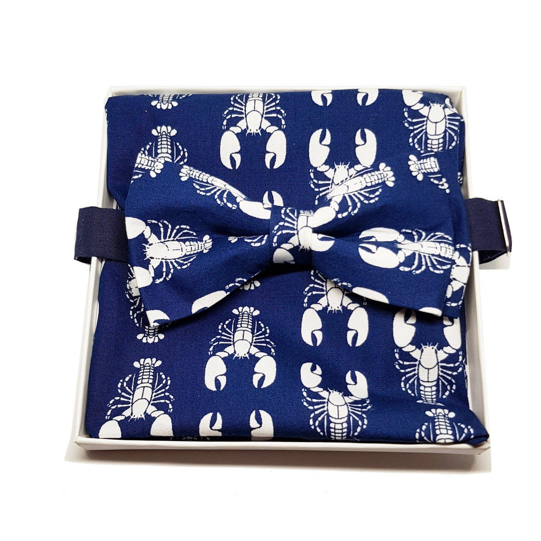 Navy Blue with White Lobsters Pre-Tied Bow Tie and Pocket Square Set-sets-Society Gent