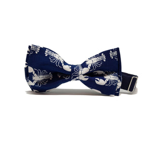 Navy Blue with White Lobsters Pre-Tied Bow Tie-sets-Society Gent