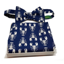 Navy Blue with White Lobsters Self Tie Bow Tie and Pocket Square Set-sets-Society Gent