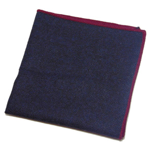 Navy Blue Wool Pocket Square with Red Shoestring Hem-pocket square-Society Gent