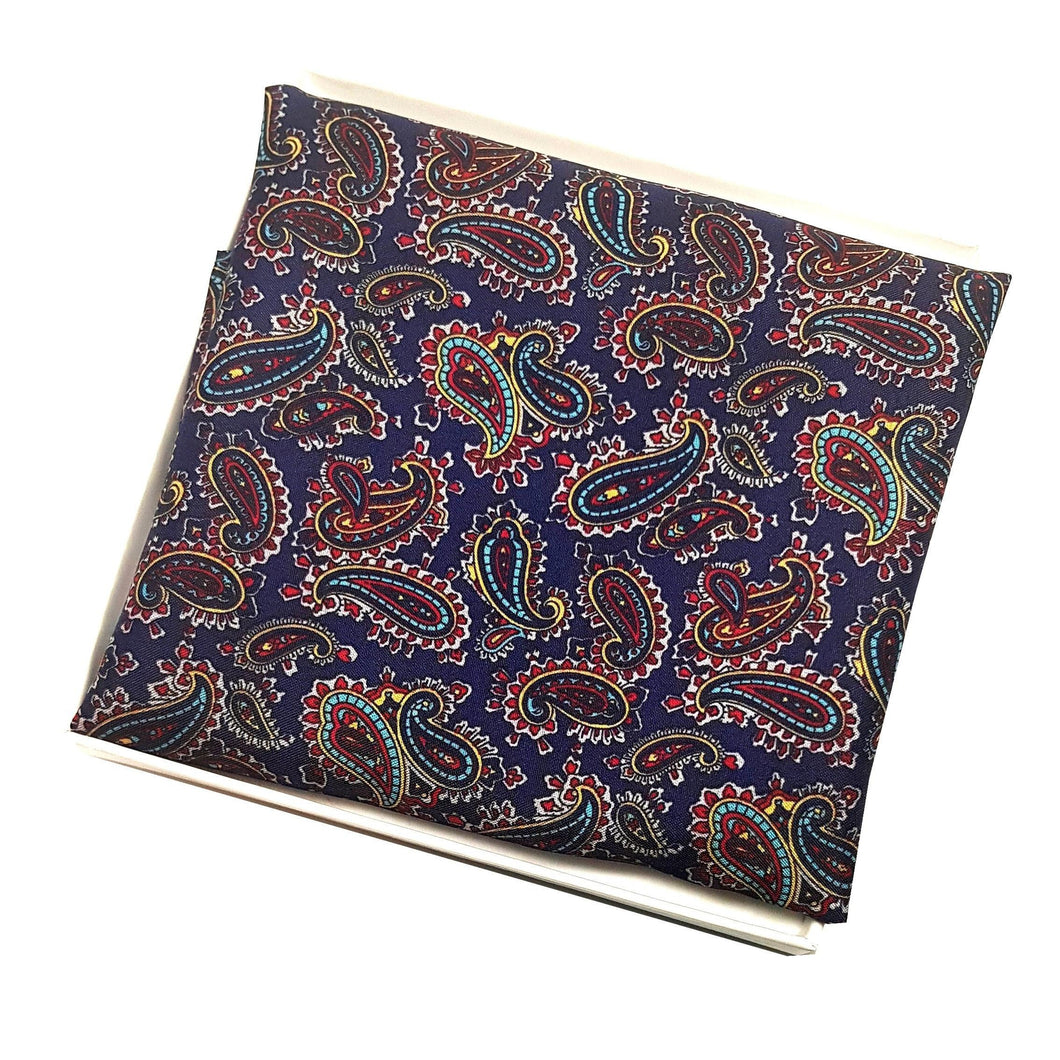 Navy Blue Paisley Pocket Square-pocket square-Society Gent