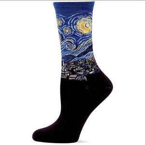 Van Gogh The Starry Night Socks - Oil Painting Socks - Ideal Men's Gift for Art Lovers and Sock Fans!-socks-Society Gent