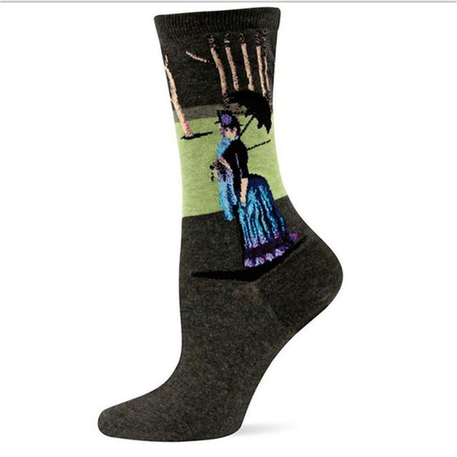 Georges Seurat - Sunday Afternoon - Oil Painting Socks - Ideal Men's Gift for Art Lovers and Sock Fans!-socks-Society Gent