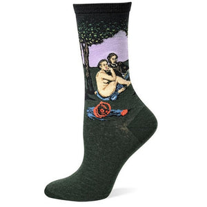 Manet's Le Déjeuner sur l'herbe - Oil Painting Socks - Ideal Men's Gift for Art Lovers and Sock Fans!-socks-Society Gent