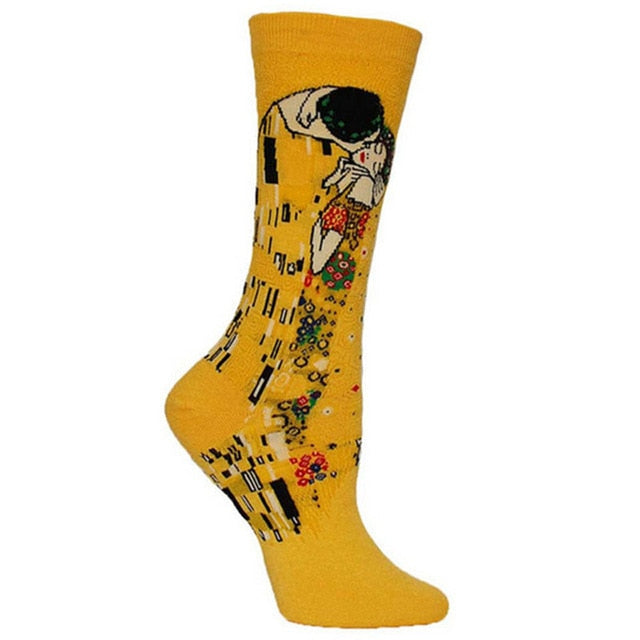 Gustav Klimt - The Kiss - Oil Painting Socks - Ideal Men's Gift for Art Lovers and Sock Fans!-socks-Society Gent