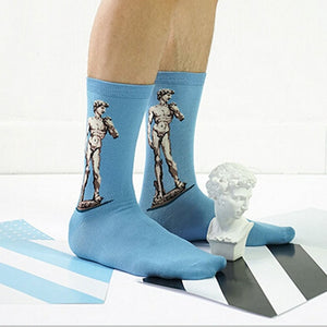 Michelangelo's David - Oil Painting Socks - Ideal Men's Gift for Art Lovers and Sock Fans!-socks-Society Gent