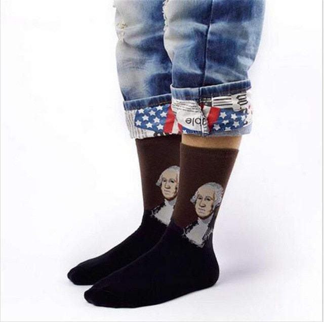 George Washington - Oil Painting Socks - Ideal Men's Gift for Art Lovers and Sock Fans!-socks-Society Gent