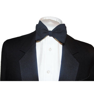 Pure Egyptian Cotton Black Self Tie-bow ties-Society Gent
