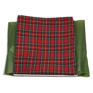 Red and Green Plaid Pocket Square-pocket square-Society Gent
