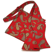 Red Paisley Self Tie Bow Tie and Pocket Square Set-bow ties-Society Gent