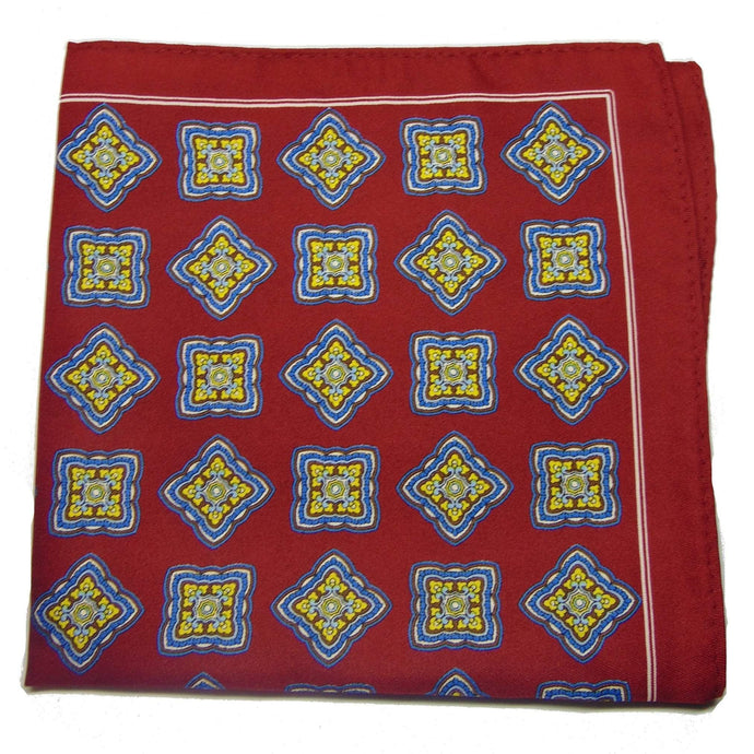 Red Silk Pocket Square with Square Roses-pocket square-Society Gent