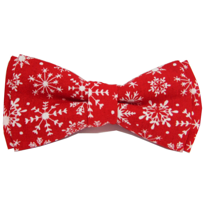 Red Snowflake Christmas Bow Tie-bow ties-Society Gent