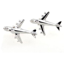 Rhodium Plated Silver Airplane Cufflinks-cufflinks-Society Gent