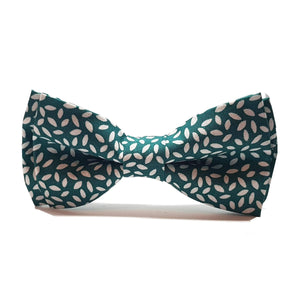 Rich Green with White Rice Pre-Tied Bow Tie-bow ties-Society Gent