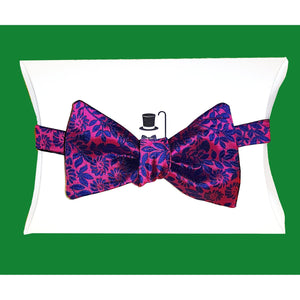 Silk Pink Blue Flower Self Tie Bow Tie-bow ties-Society Gent