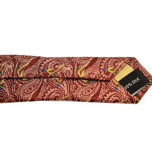 Silk Wine and Gold Paisley Tie with Pheasants Motifs-ties-Society Gent