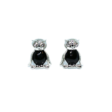 Silver and Black Owl with Crystal Eyes-cufflinks-Society Gent