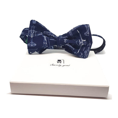 Navy Blue Aeroplane Self Tie Bow Tie-bow ties-Society Gent