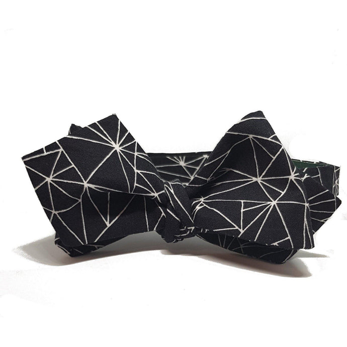 Black Geometric Diamond Tipped Self-Tie Bow Tie-bow ties-Society Gent