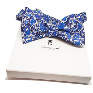 """Pereira"" Liberty of London Blue and White Self Tie Bow Tie and Pocket Square-pocket square-Society Gent"