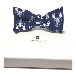Navy Blue with White Lobsters Self Tie Bow Tie-sets-Society Gent