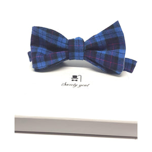 Cranleigh Blue and Pink Tartan Self-Tie Bow Tie-bow ties-Society Gent