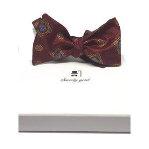 Deep Red English Heritage Silk Bow Tie-bow ties-Society Gent