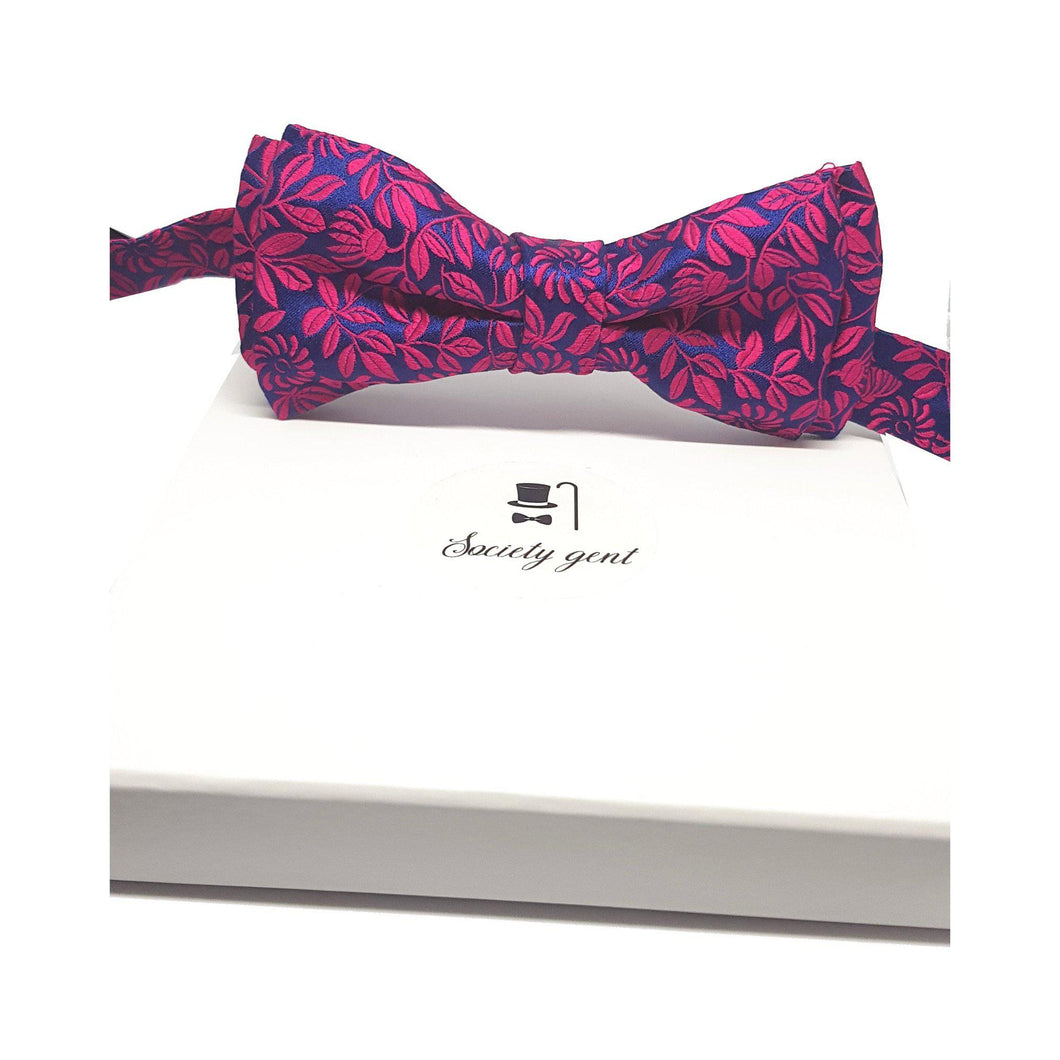 Silk Pink Blue Flower Pre-Tied Bow Tie-bow ties-Society Gent