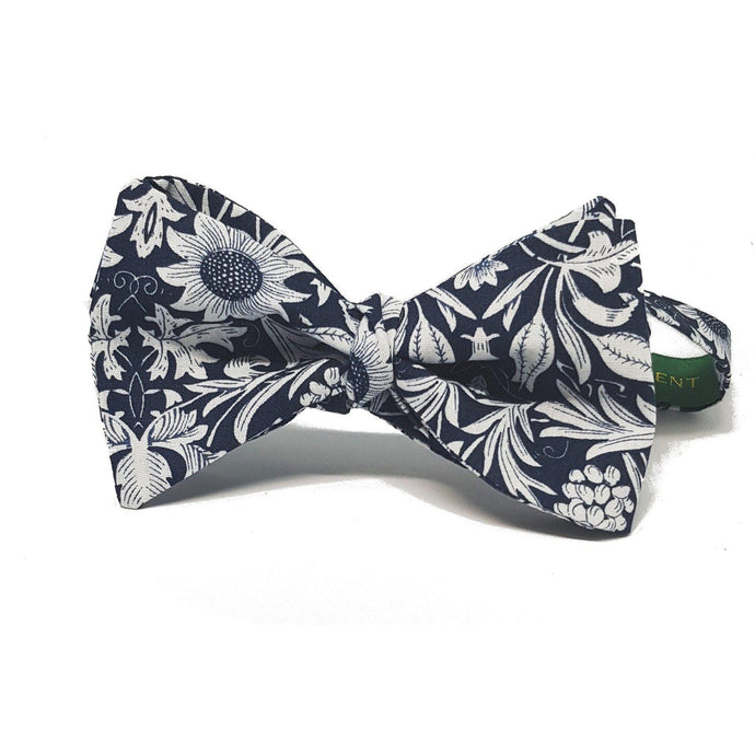 Navy and Silver Floral Self Tie Bow Tie-bow ties-Society Gent