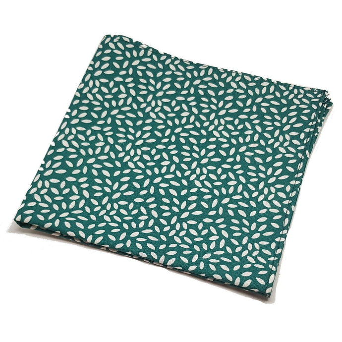 Green with White Rice Pocket Square-pocket square-Society Gent