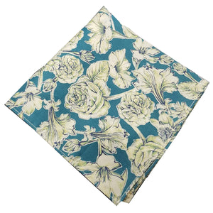 Teal Liberty of London Floral Pocket Square-pocket square-Society Gent