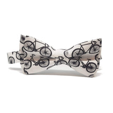 The Tour De Yorkshire White Bow Tie with Bicycle Motifs Pre-Tied-bow ties-Society Gent